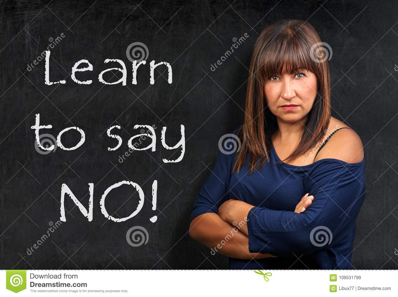 Learn to say no teacher threatening brunette woman crossed arms