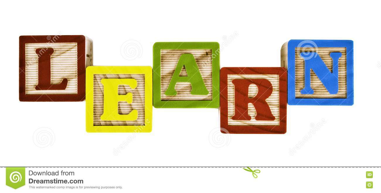 Learn Word On Wooden Block Letters Stock Photos - Image: 18353983