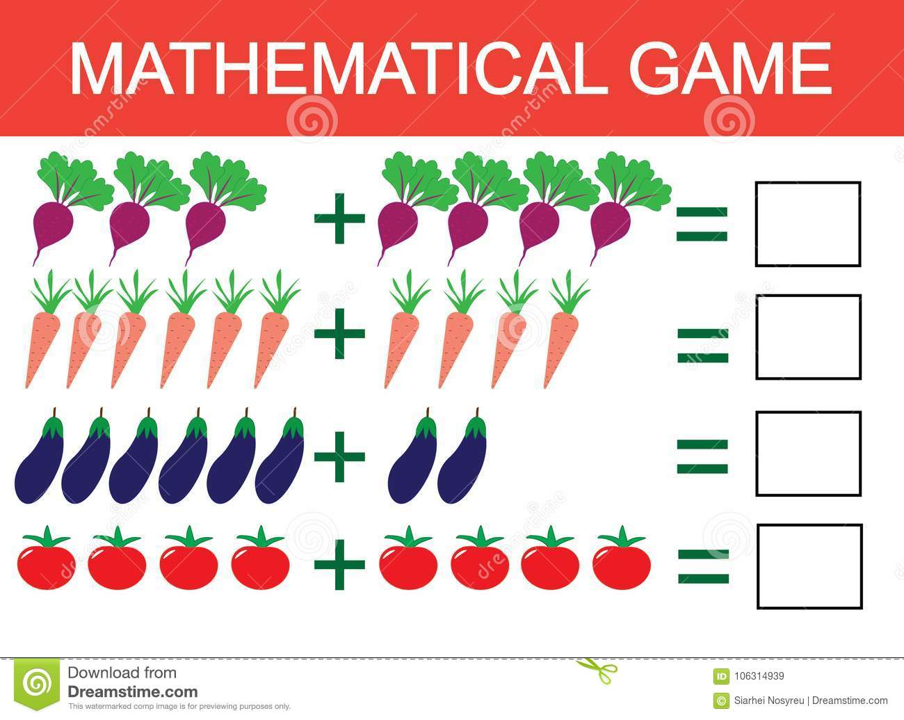 Learning Addition By Example Of Vegetables For Children, Counting ...