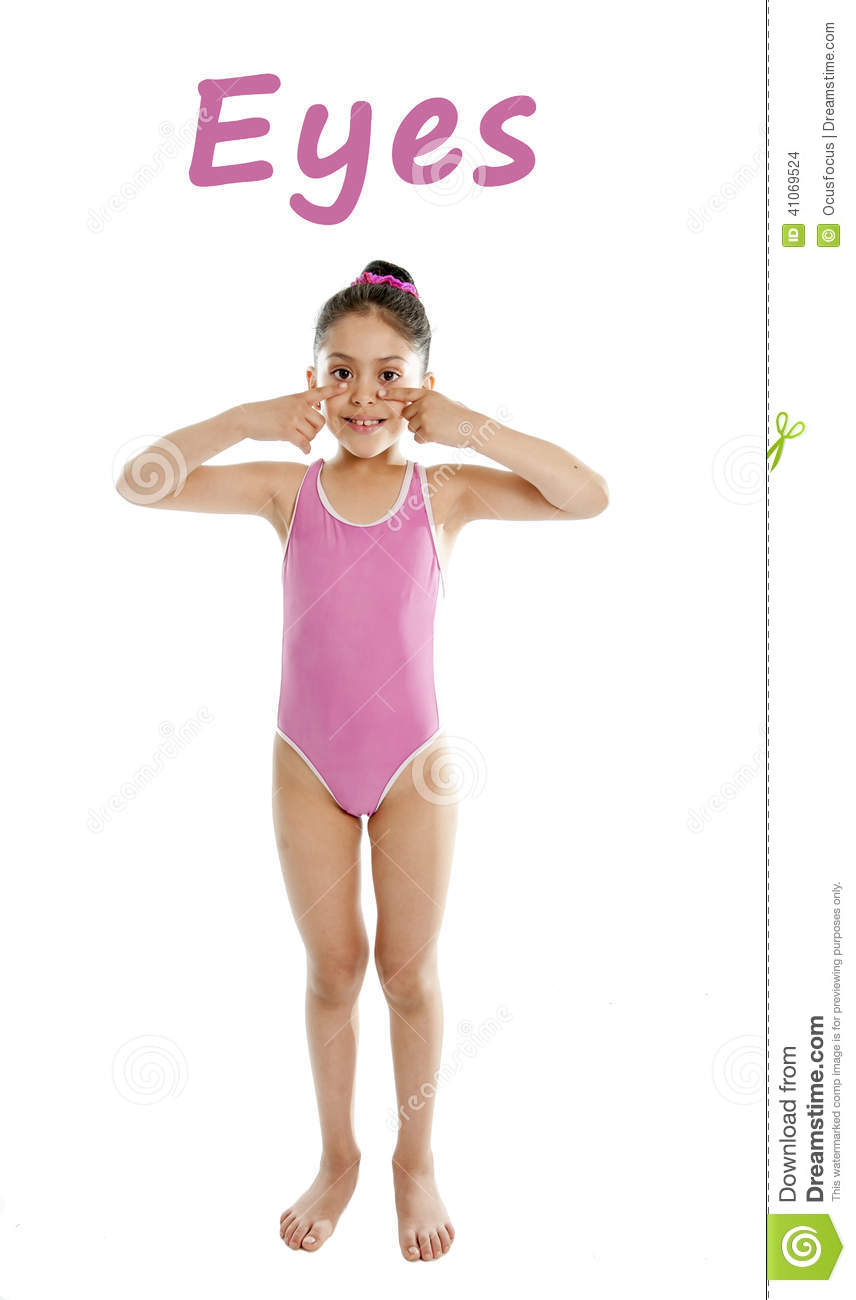 Learning body parts school card of girl pointing at her eyes on white background