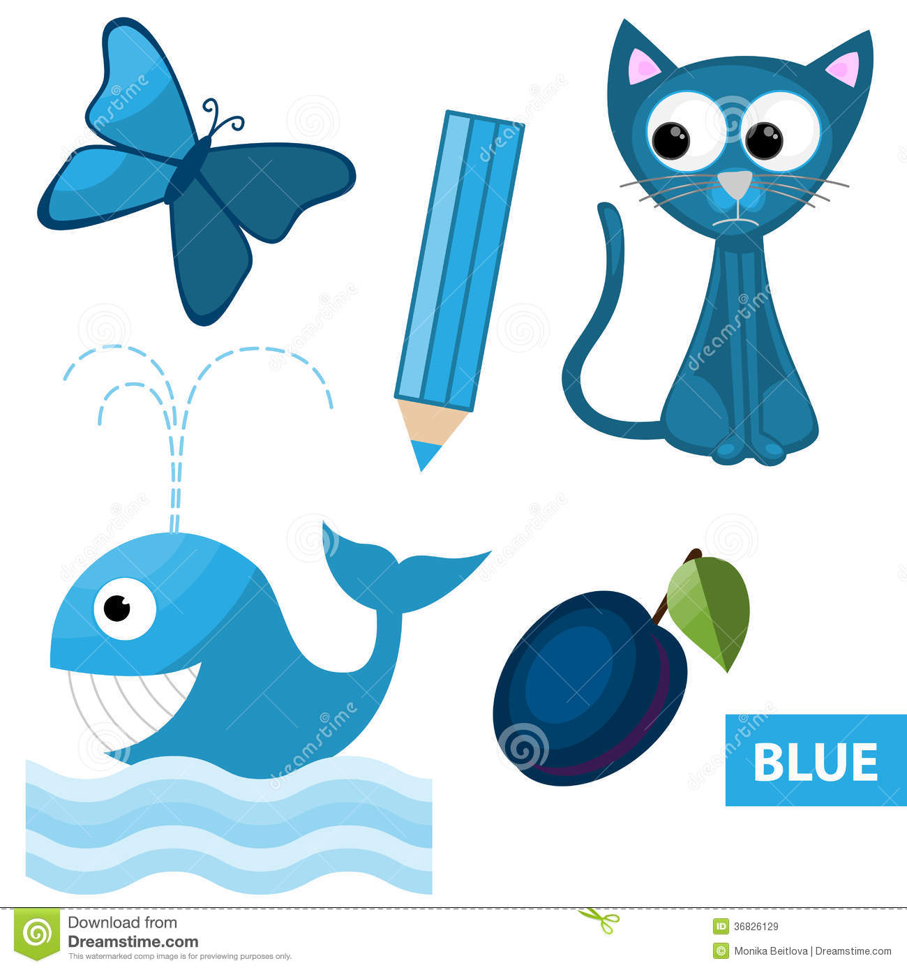 Educational set of blue colored things - butterfly, pencil, cat, whale ...