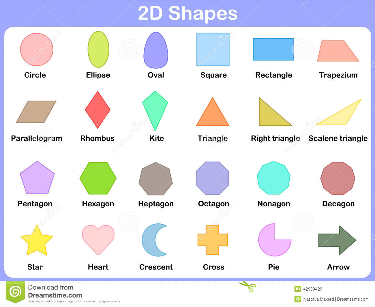worksheet Learning Shapes learning the 2d shapes for kids stock vector image 42909429 kids