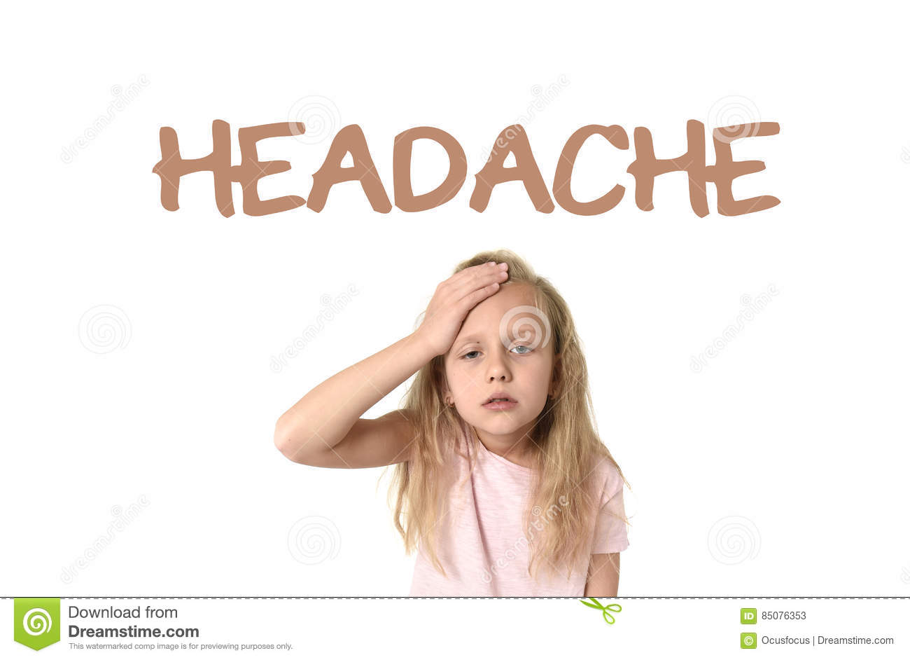Learning English language vocabulary school card with the word headache