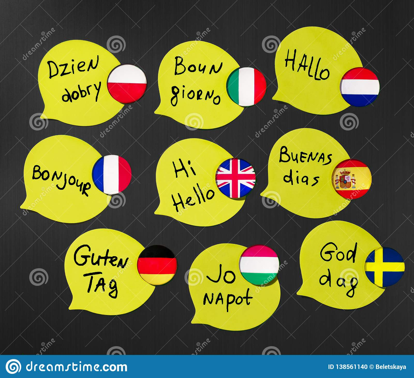 Learning foreign languages ​​courses. Phrase greetings in different languages. Flags of the countries of the studied languages