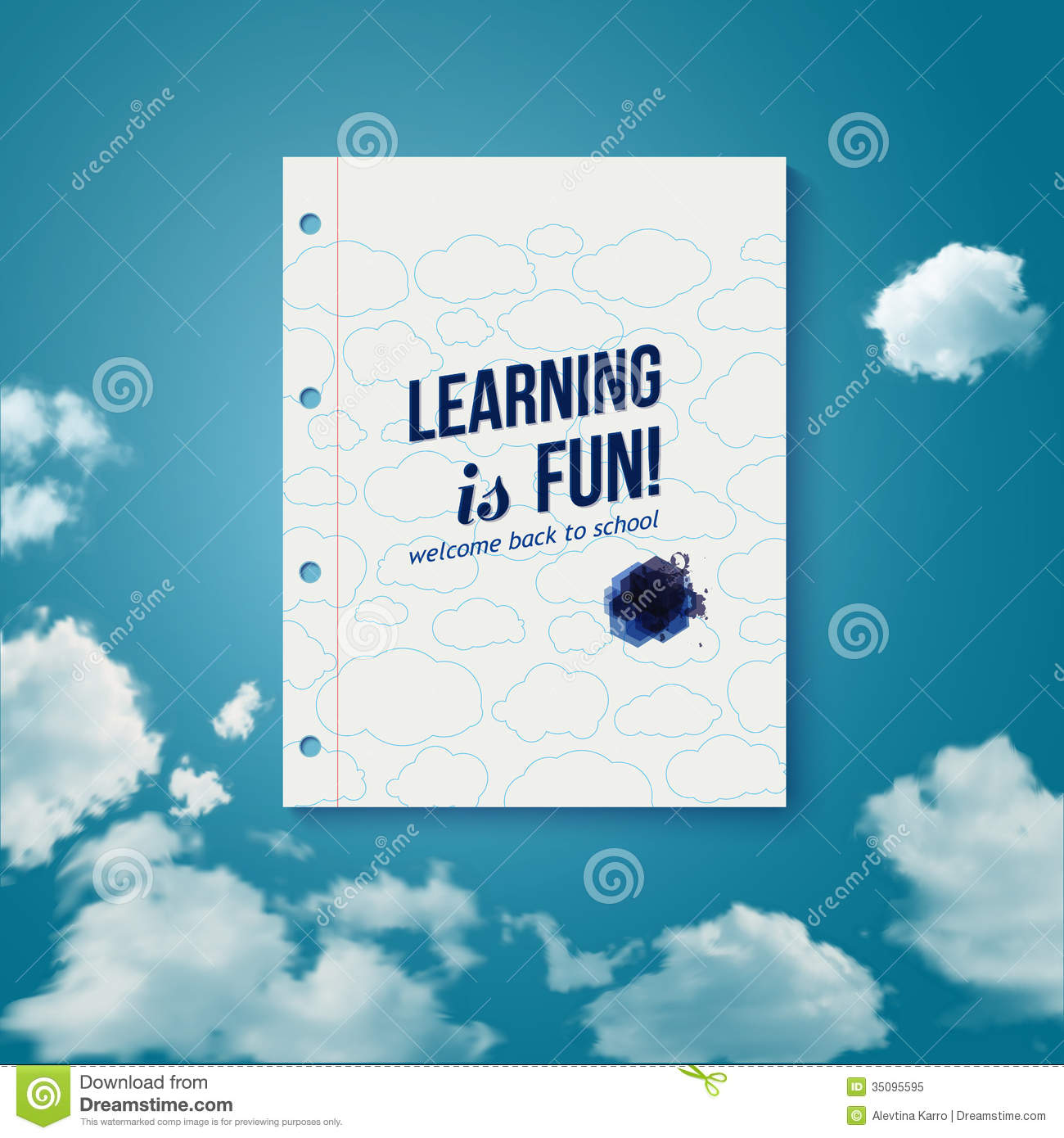 learning is fun  motivating poster  stock vector