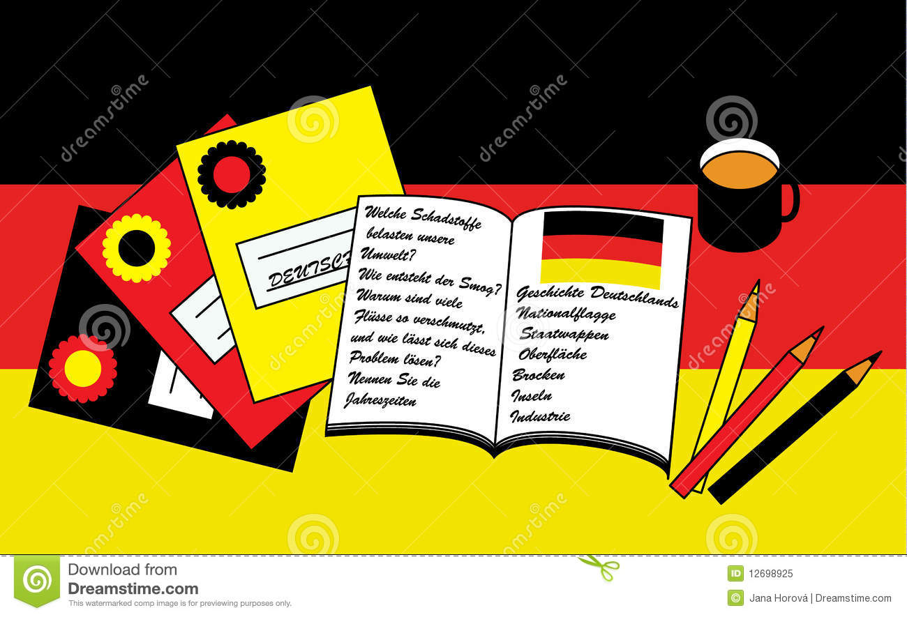 learning german stock vector image of library europe