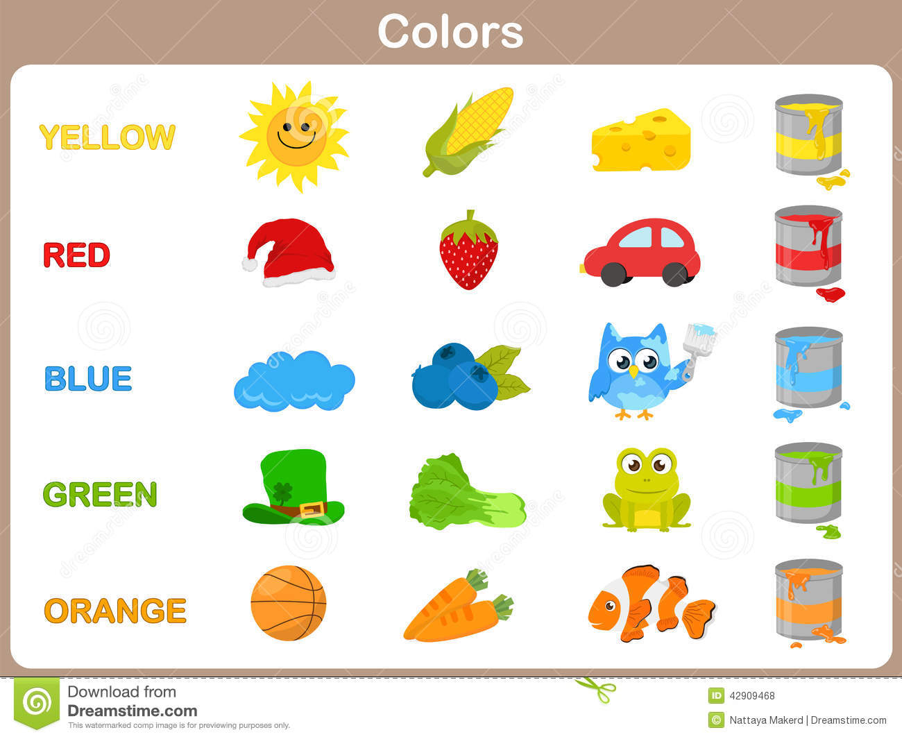 Learning The Object Colors For Kids Royalty Free Vector