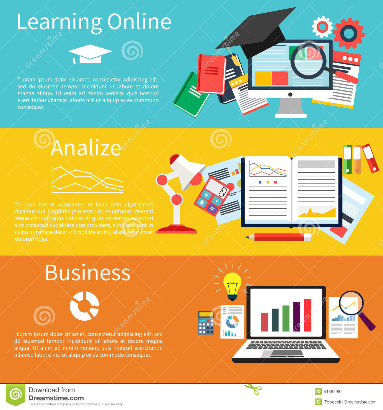 Learning online, analize and business