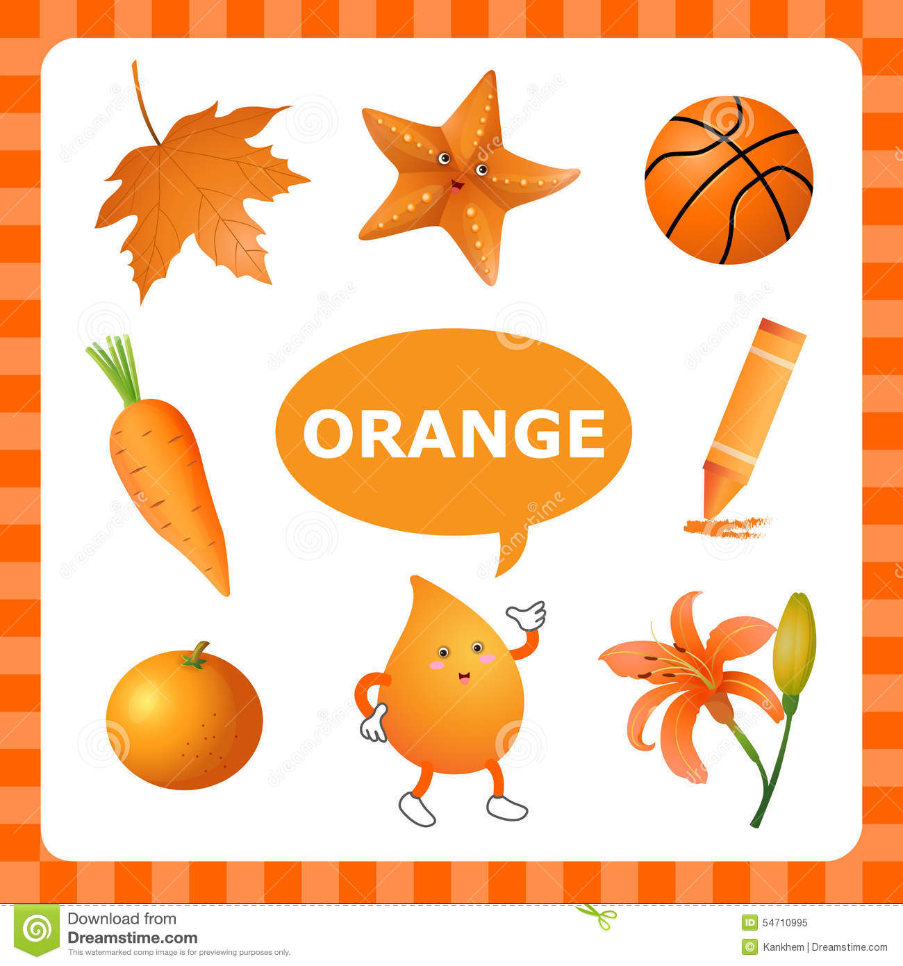 Learning orangecolor stock vector image 54710995 for Orange colour things