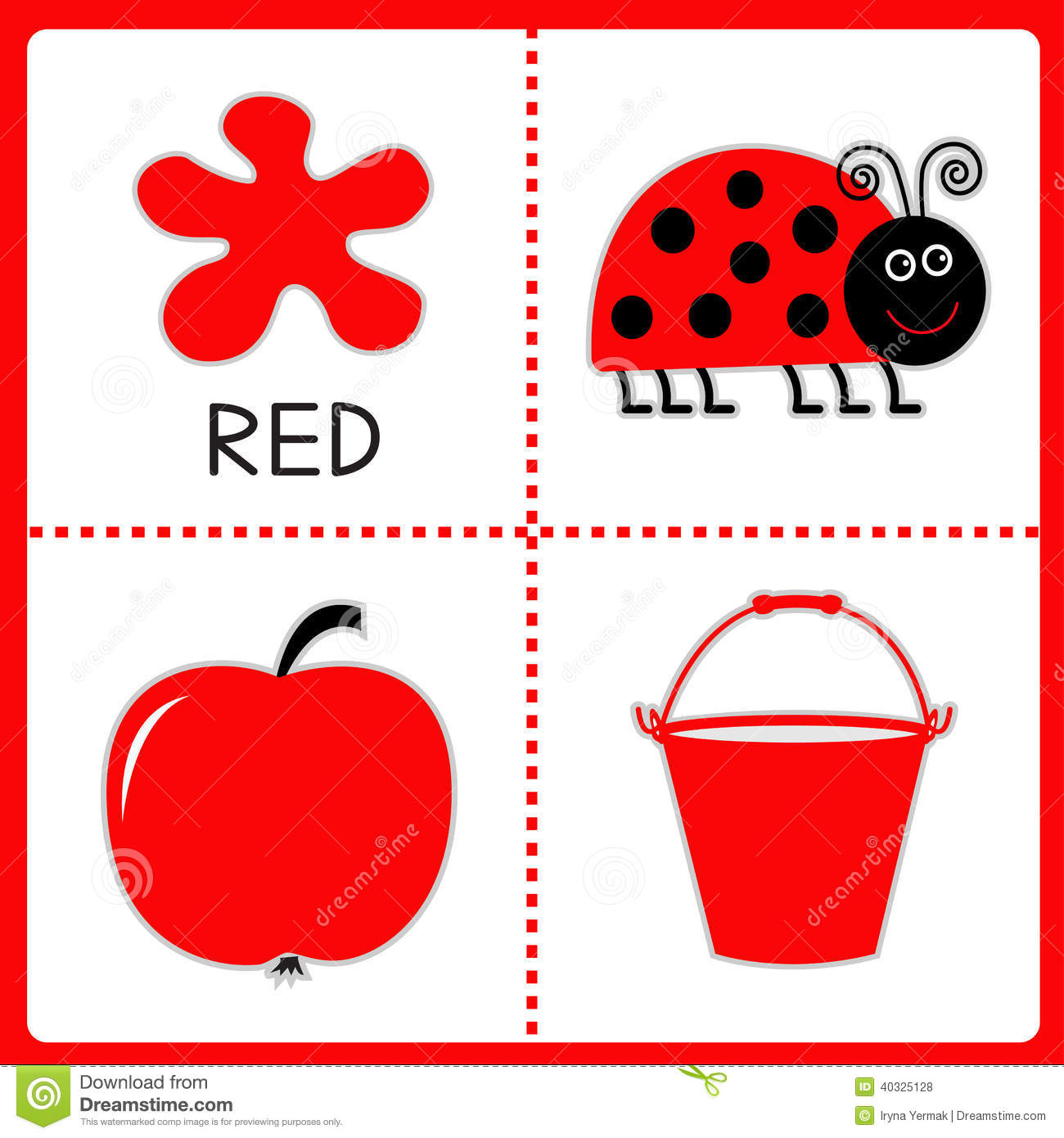 Learning Red Color Ladybug Apple And Bucket Educational Cards Royalty Free Stock Photos