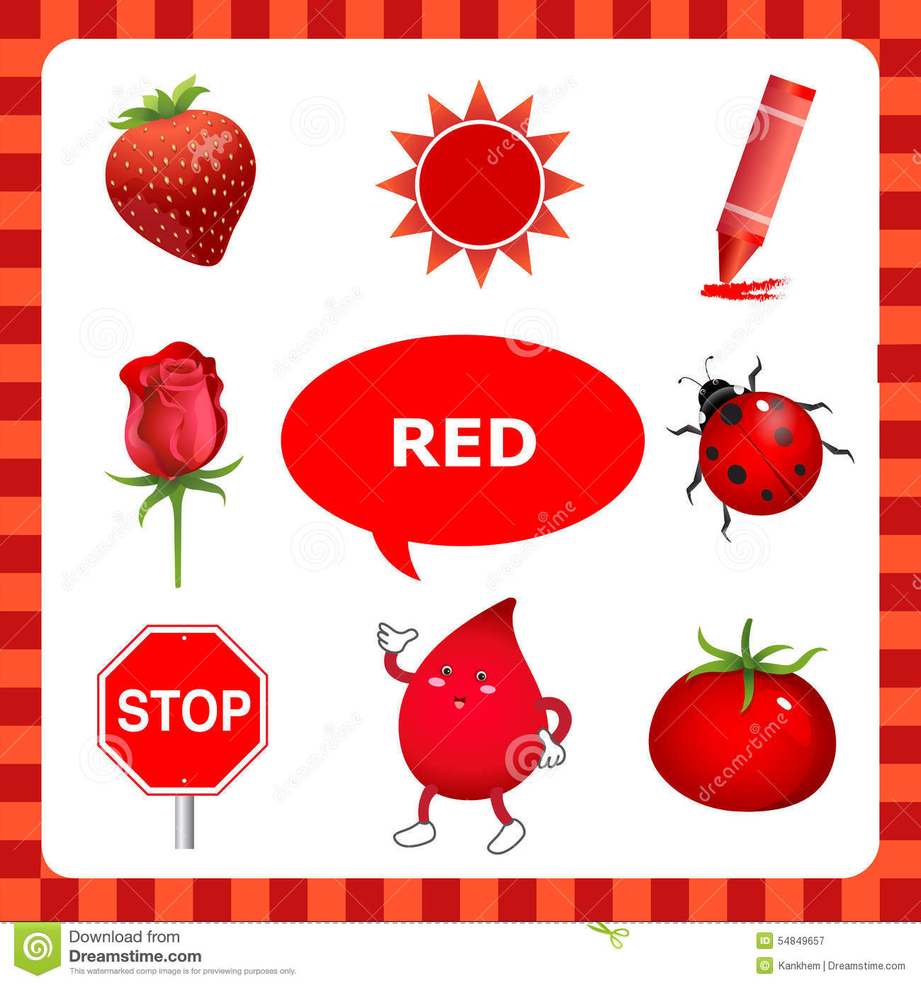 Learn the color red things that are red color