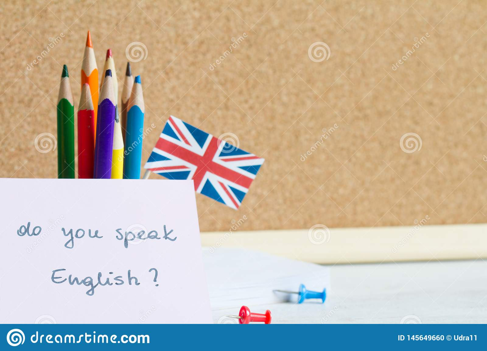 Learning speaking and teaching english with british flag abstract background concept