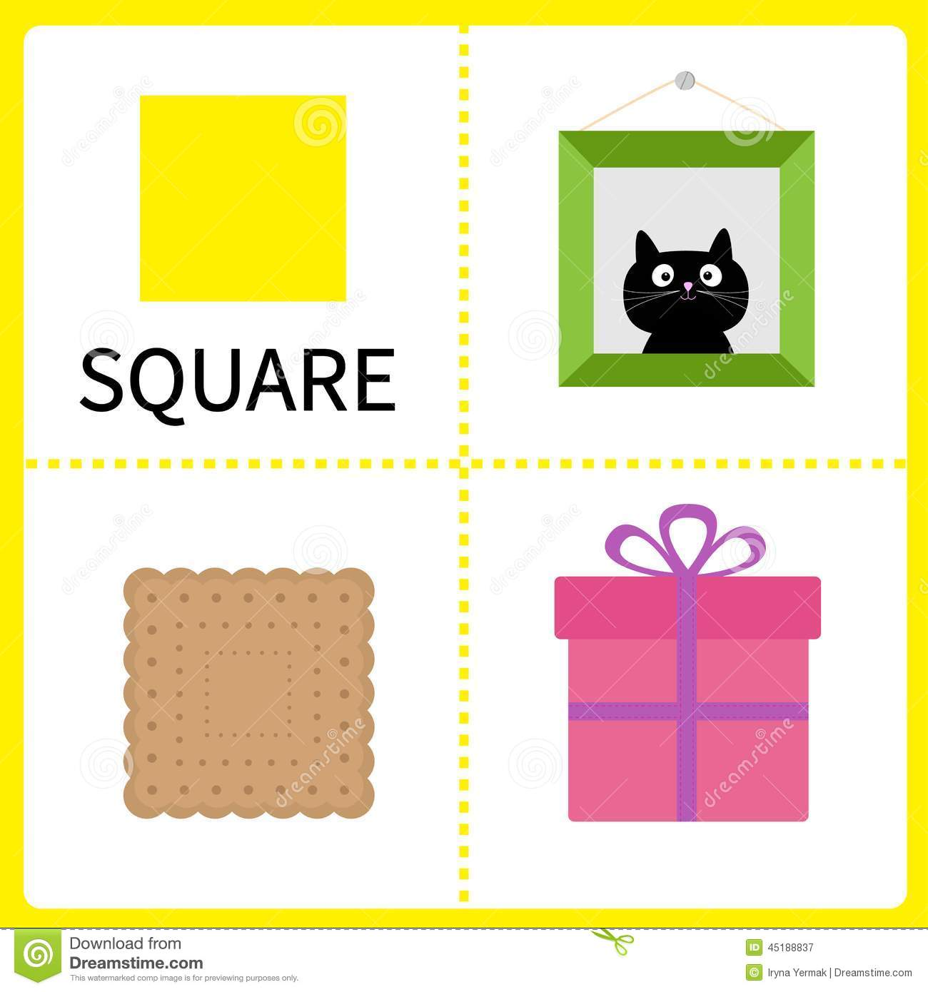 Color cards for kids - Learning Square Form Frame Picture Gift Box And Biscuit Educational Cards For Kids