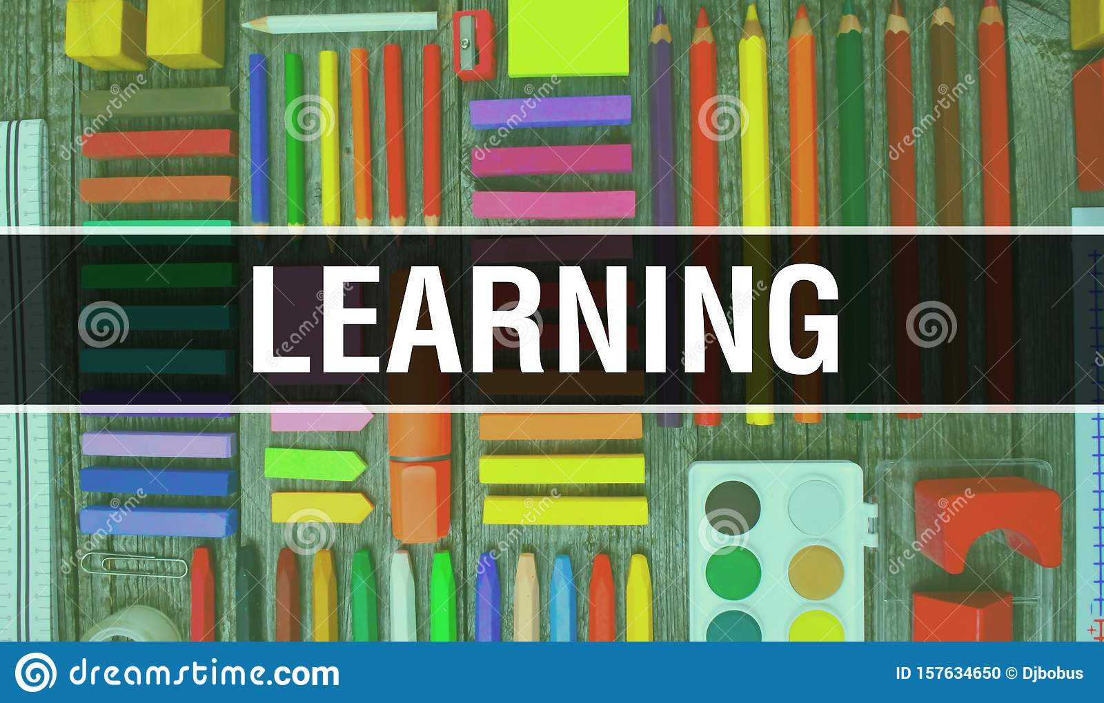 Learning Text With Back To School Wallpaper Learning And School Education Background Concept School Stationery And Learning Text Stock Photo Image Of Object Concept 157634650