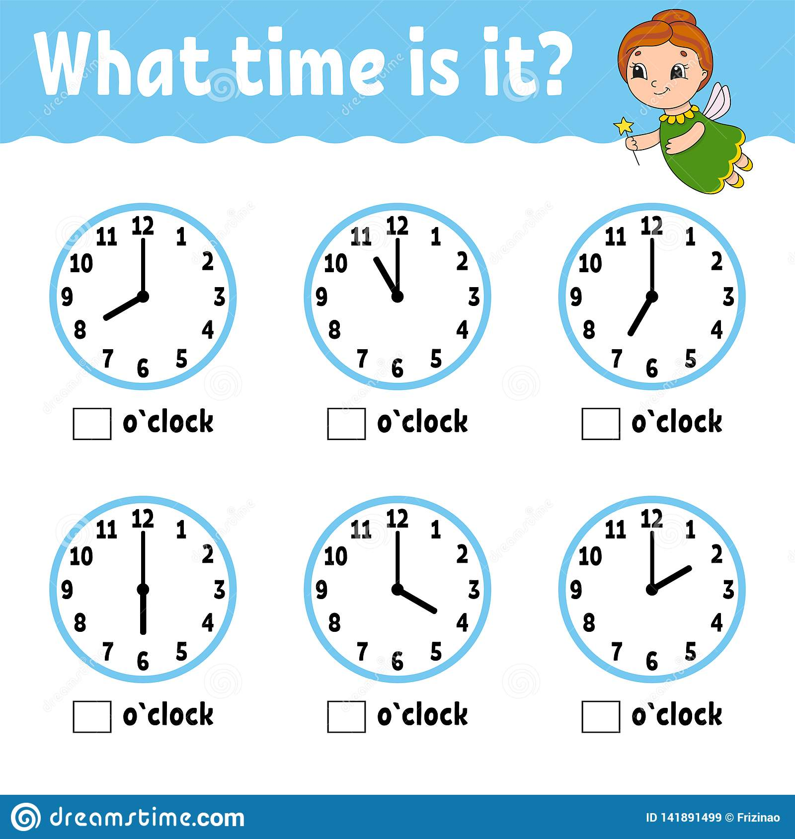 Learning Time On The Clock. Educational Activity Worksheet For Kids ...