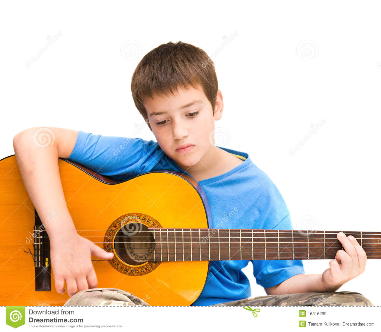learning to play acoustic guitar stock image image of guitar cute 16316299. Black Bedroom Furniture Sets. Home Design Ideas