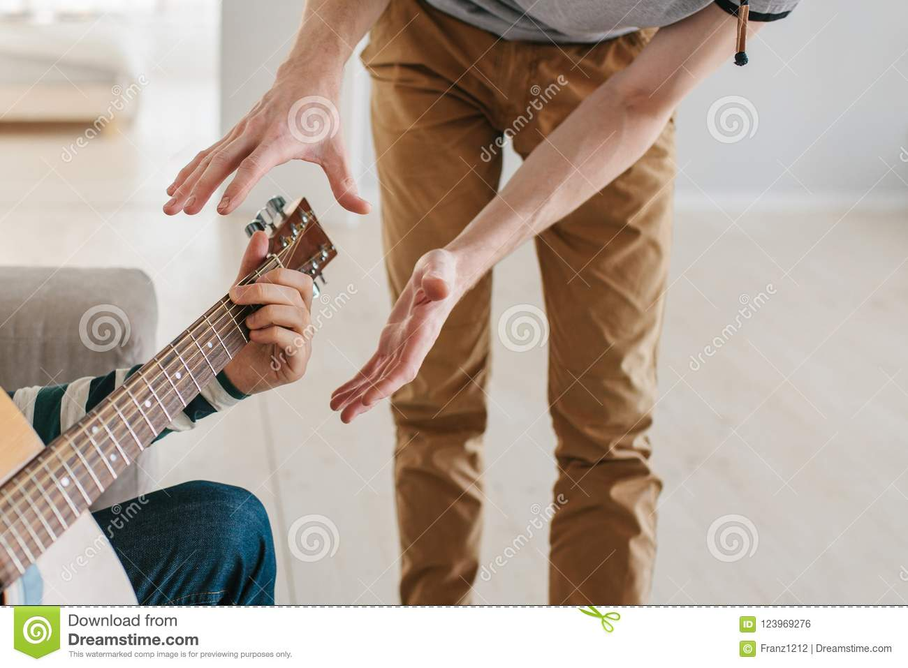 Learning To Play The Guitar  Music Education  Stock Photo