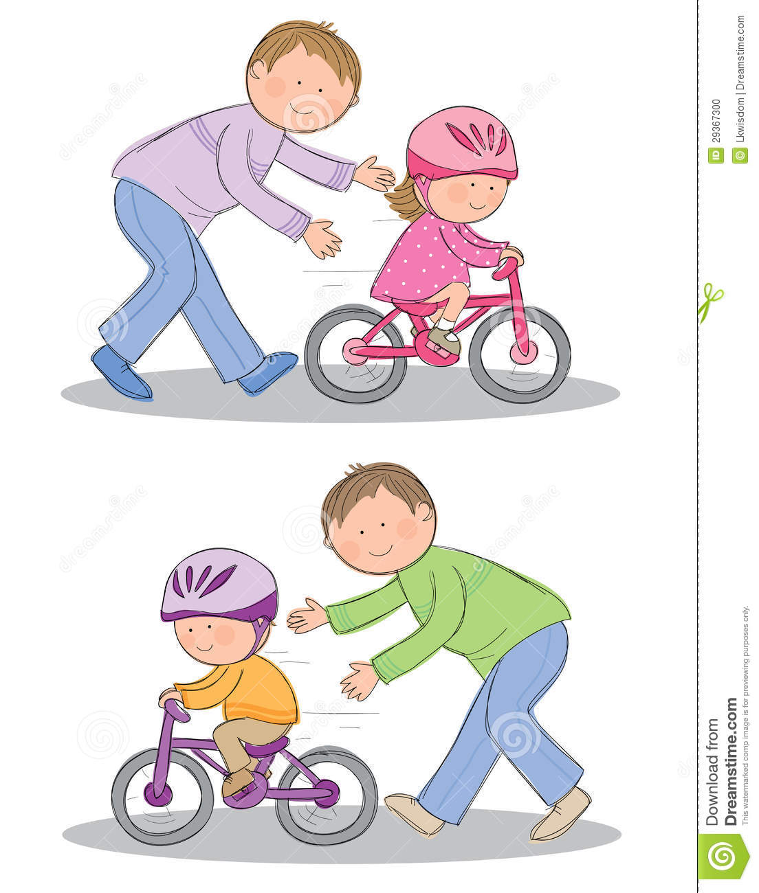Hand drawn picture of child learning to ride a bicycle. Illustrated in ...