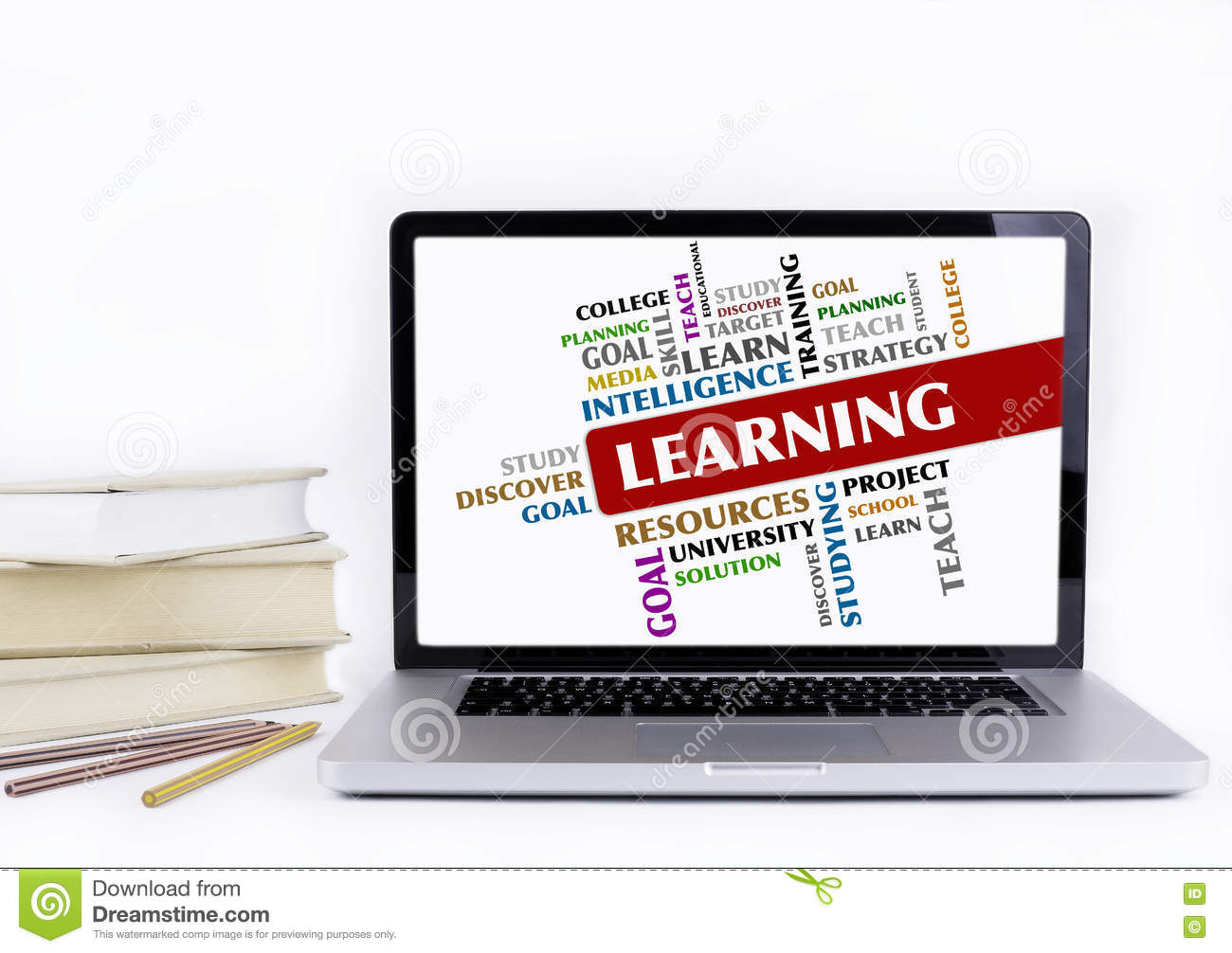 Learning - Word Cloud, Education Concept. Laptop And Books ...