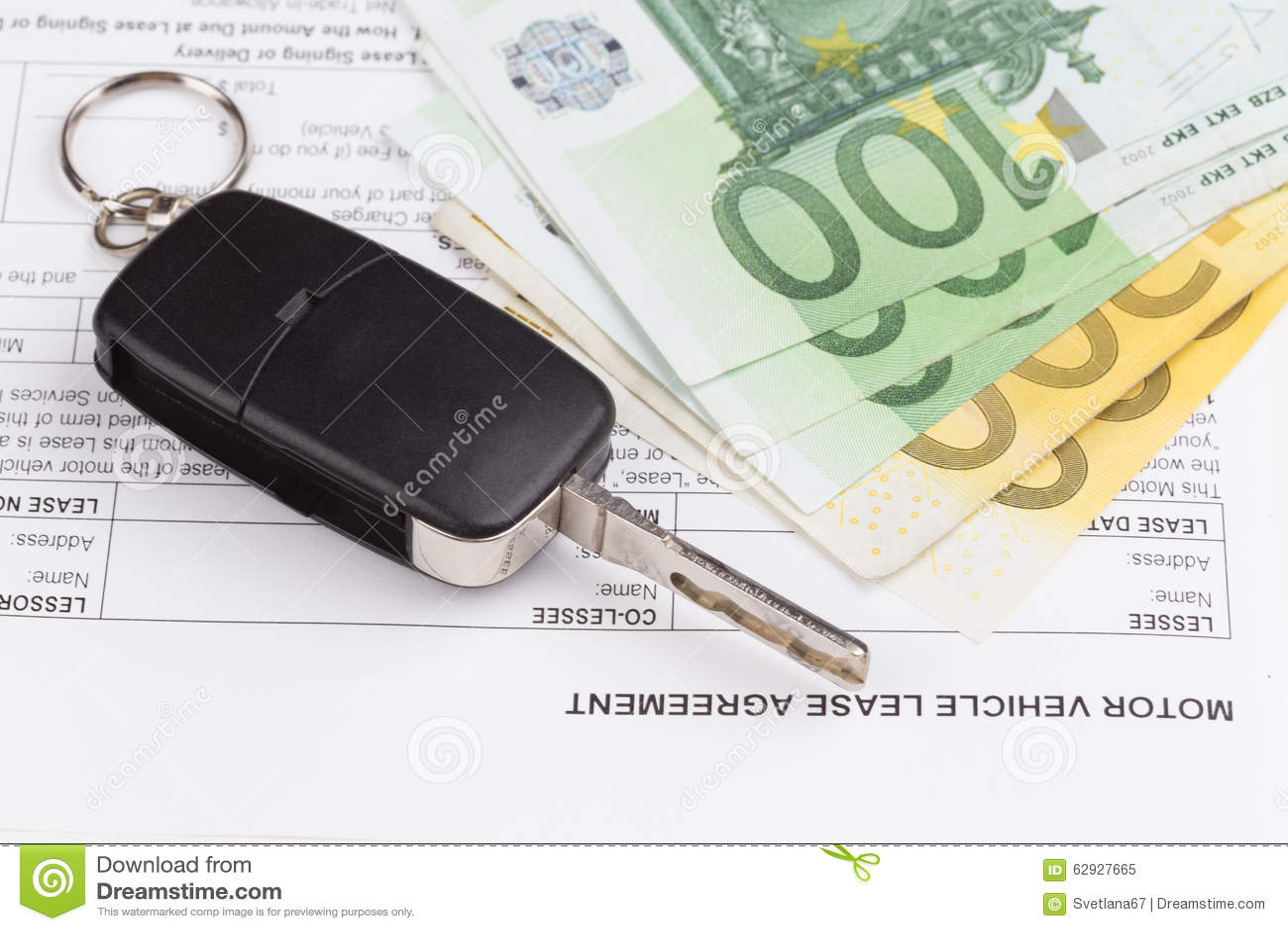 Lease Motor Vehicle Document Agreement Stock Photo Image
