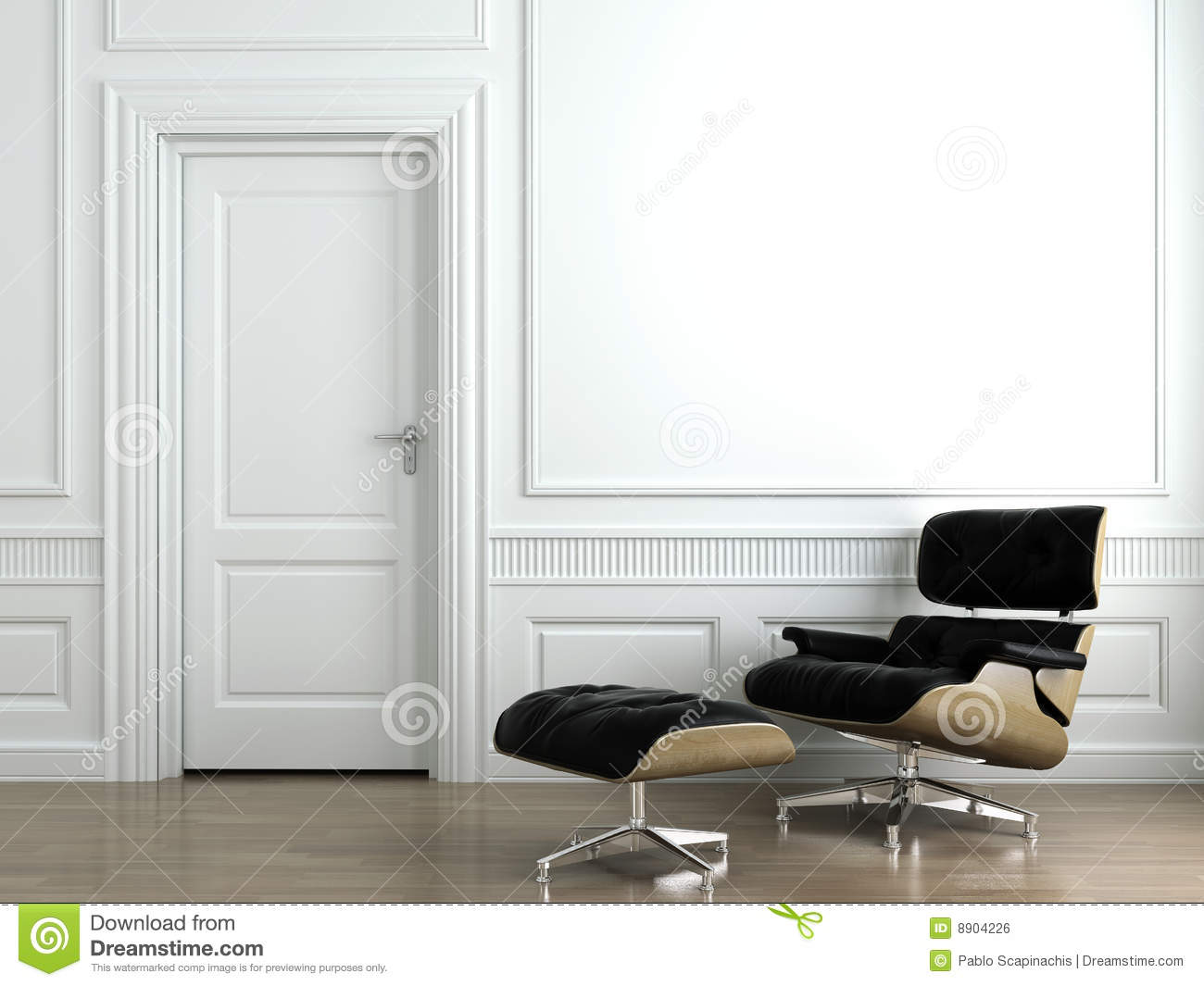Leather armchair on white interior wall royalty free stock for Interior designs photo