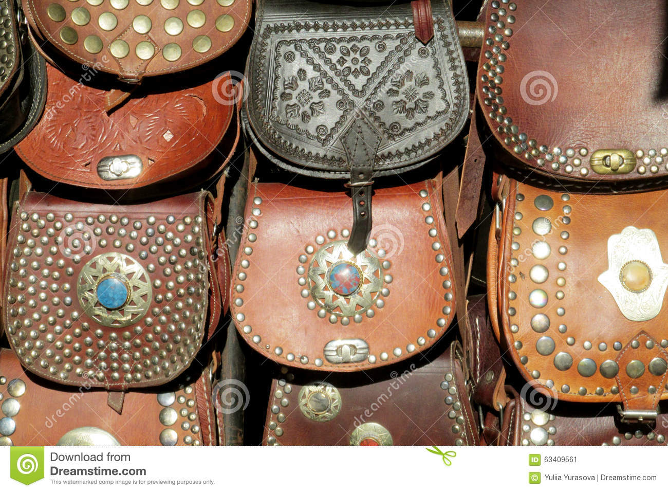 Leather Bags Souvenirs Stock Photo Image 63409561