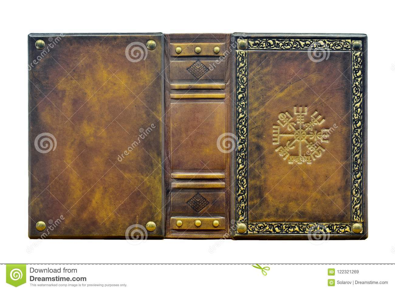 Leather Book With The Vegvisir Ancient Icelandic Magical Symbol