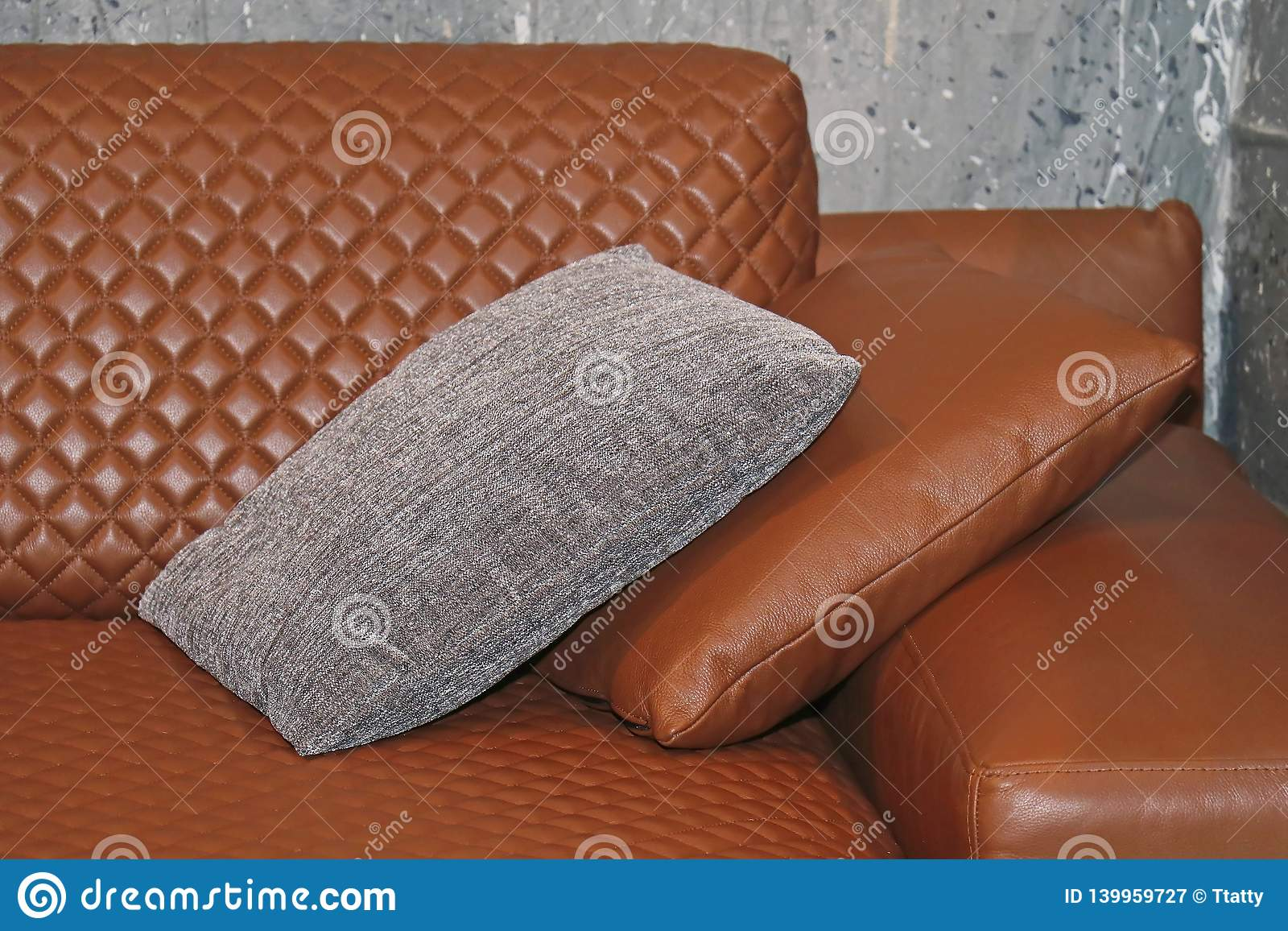 Admirable Leather Couch With Pillows Stock Image Image Of Corner Andrewgaddart Wooden Chair Designs For Living Room Andrewgaddartcom
