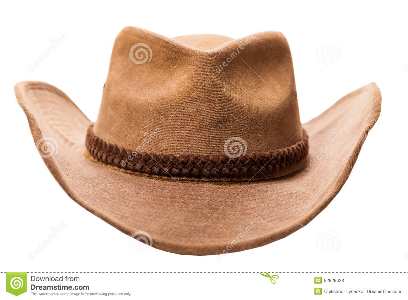 582f2cbab7709 Leather cowboy hat isolated on a white background