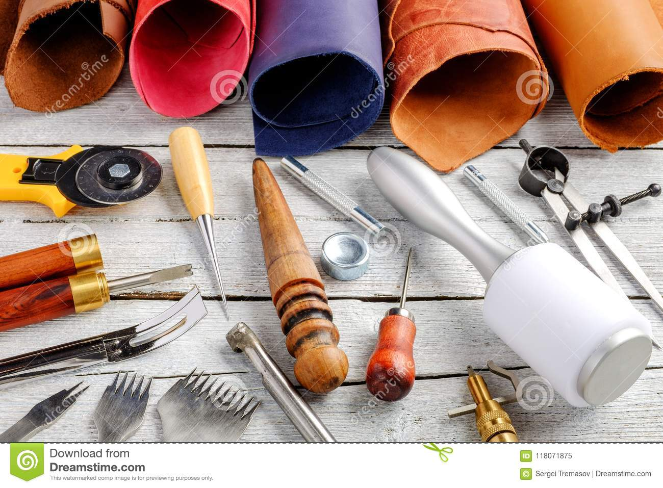 Leather Craft Tools And Utensils On Wooden Background Stock Image