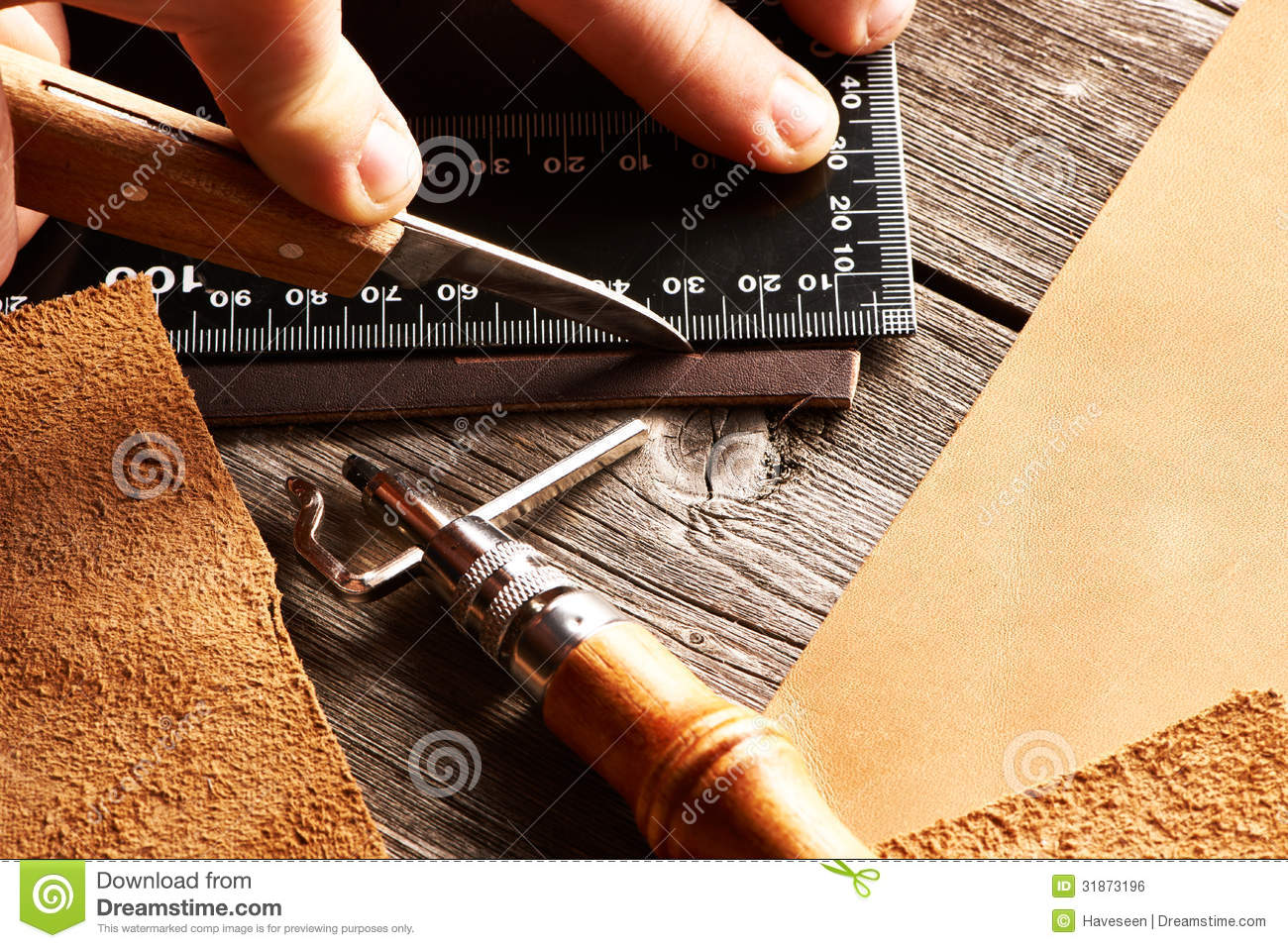 Leather Crafting Tools Royalty Free Stock Image - Image: 31873196