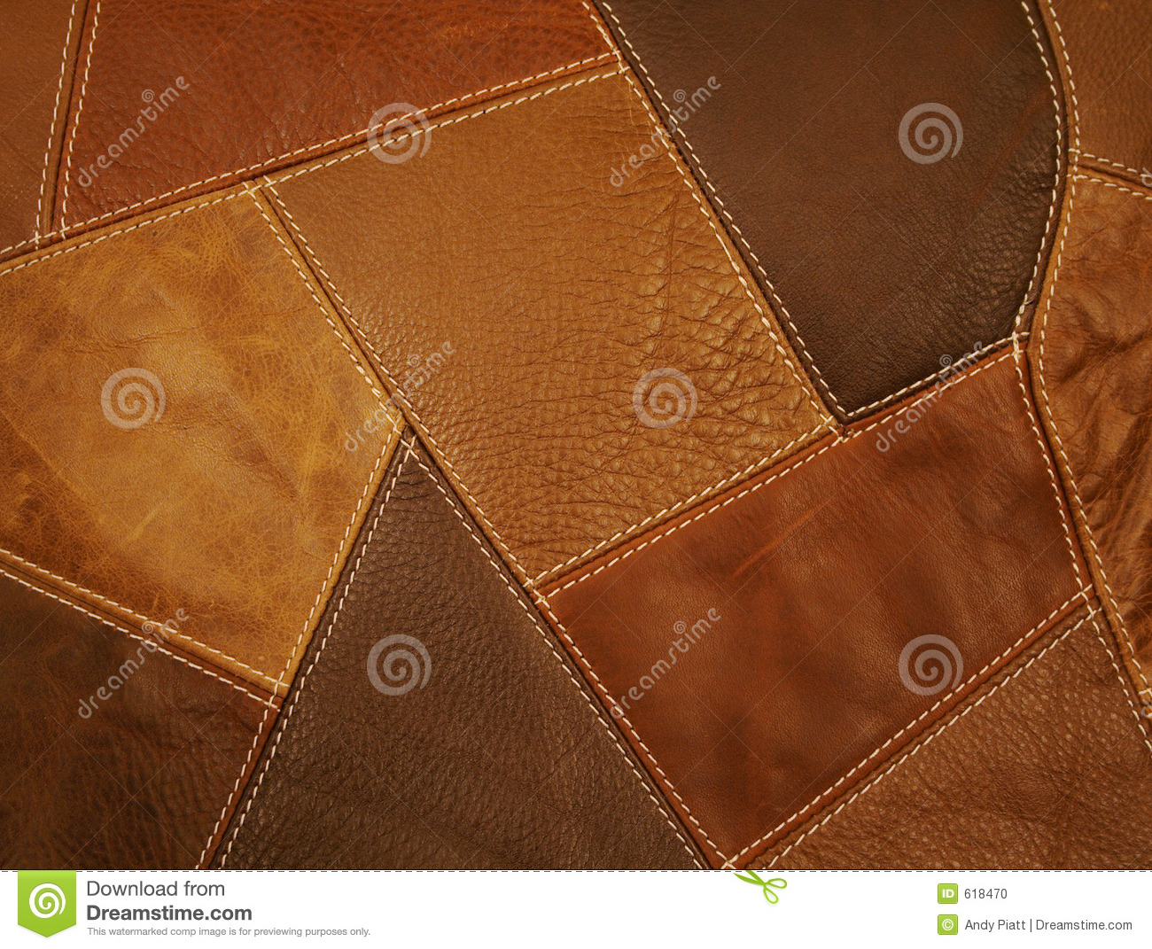 Leather Fabric Patchwork Background Stock Photo Image