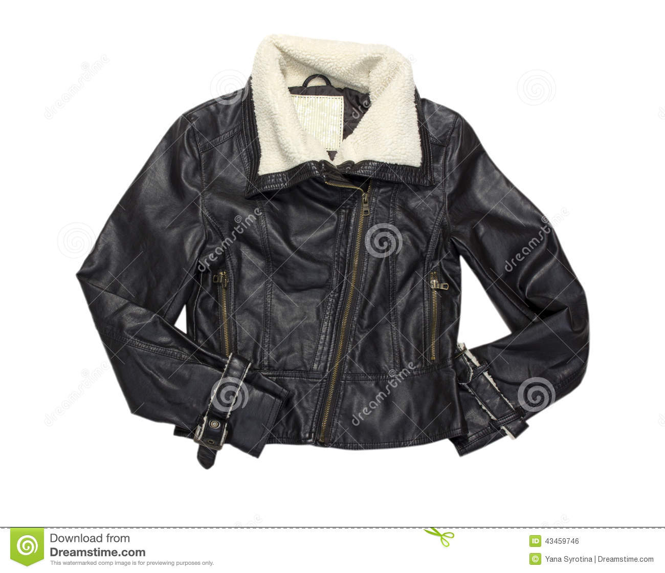 Zipper On Brown Leather Motorcycle Jacket Royalty-Free ...