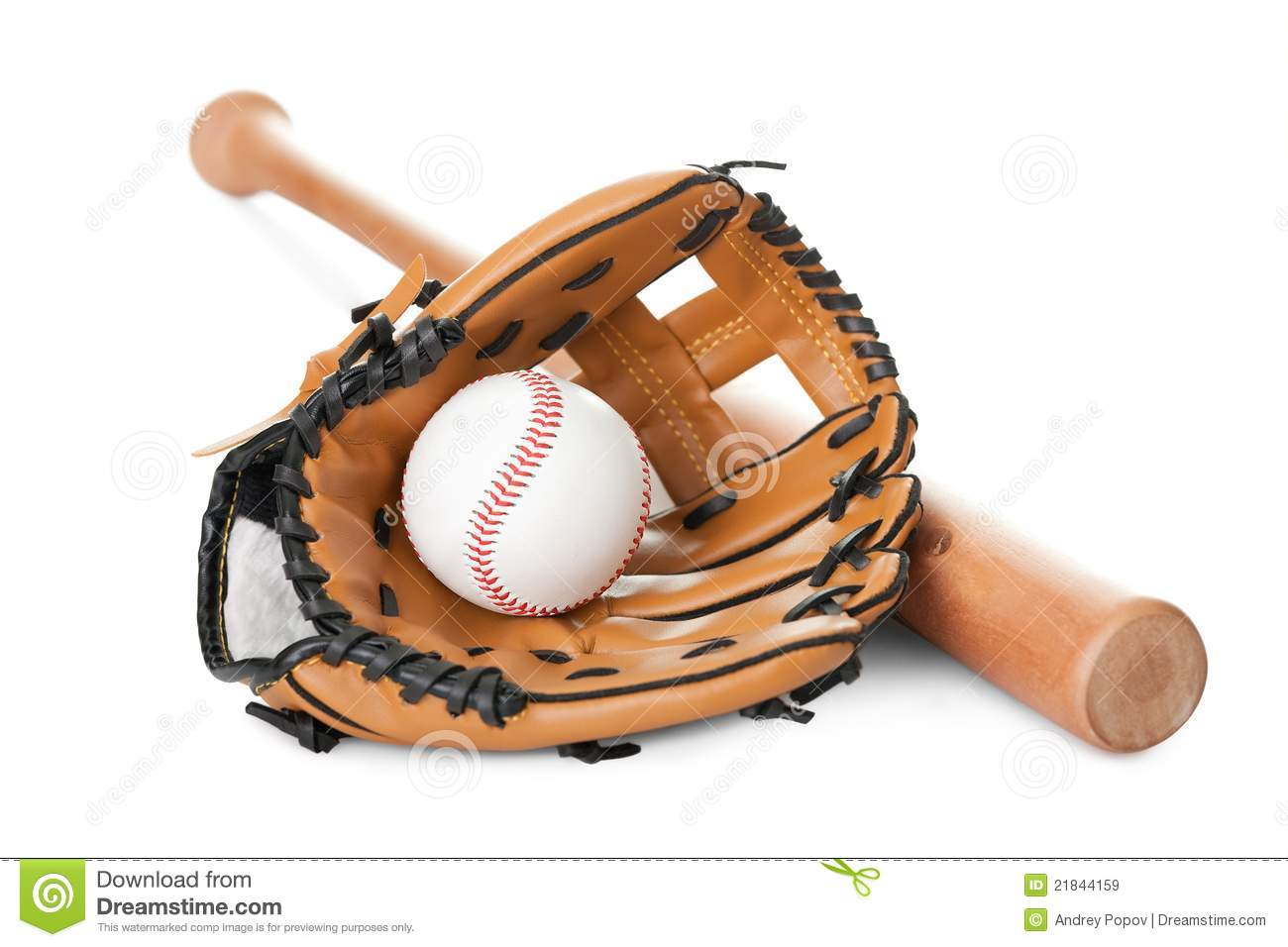 Leather Glove With Baseball And Bat On White Royalty Free ...