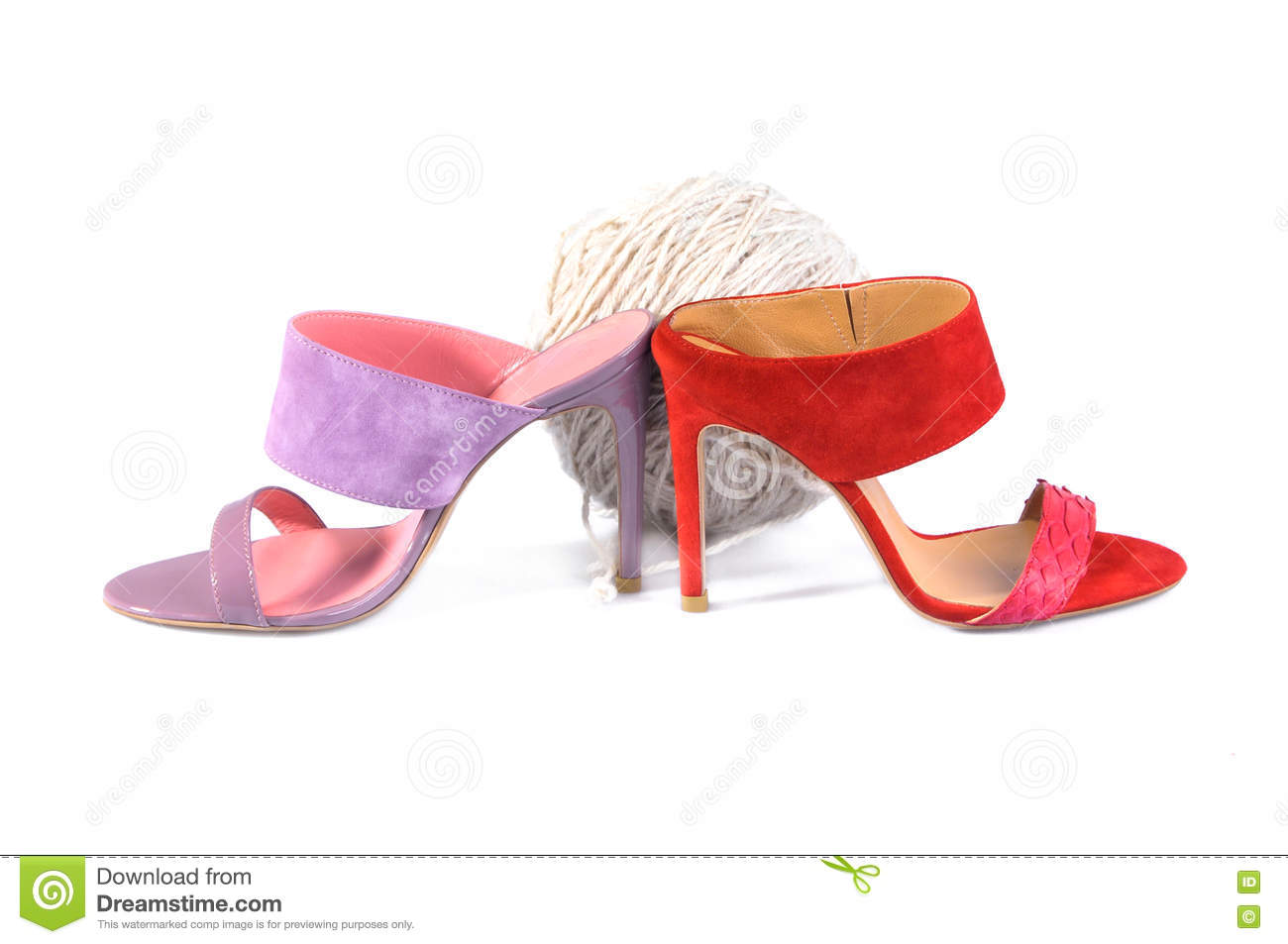 52922909b0acc Leather Handmade Shoes - Pink And Red Heels Sandals Stock Photo ...