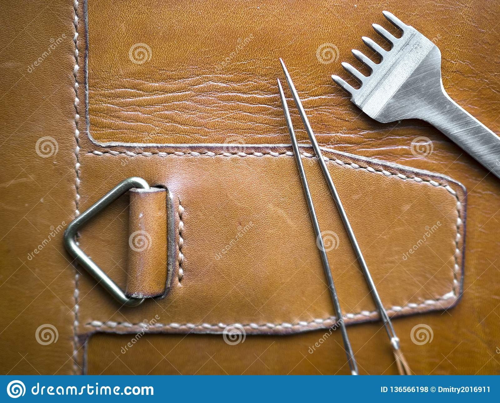 Leather Handmade Stitch Detail, Handcrafted Leather Goods