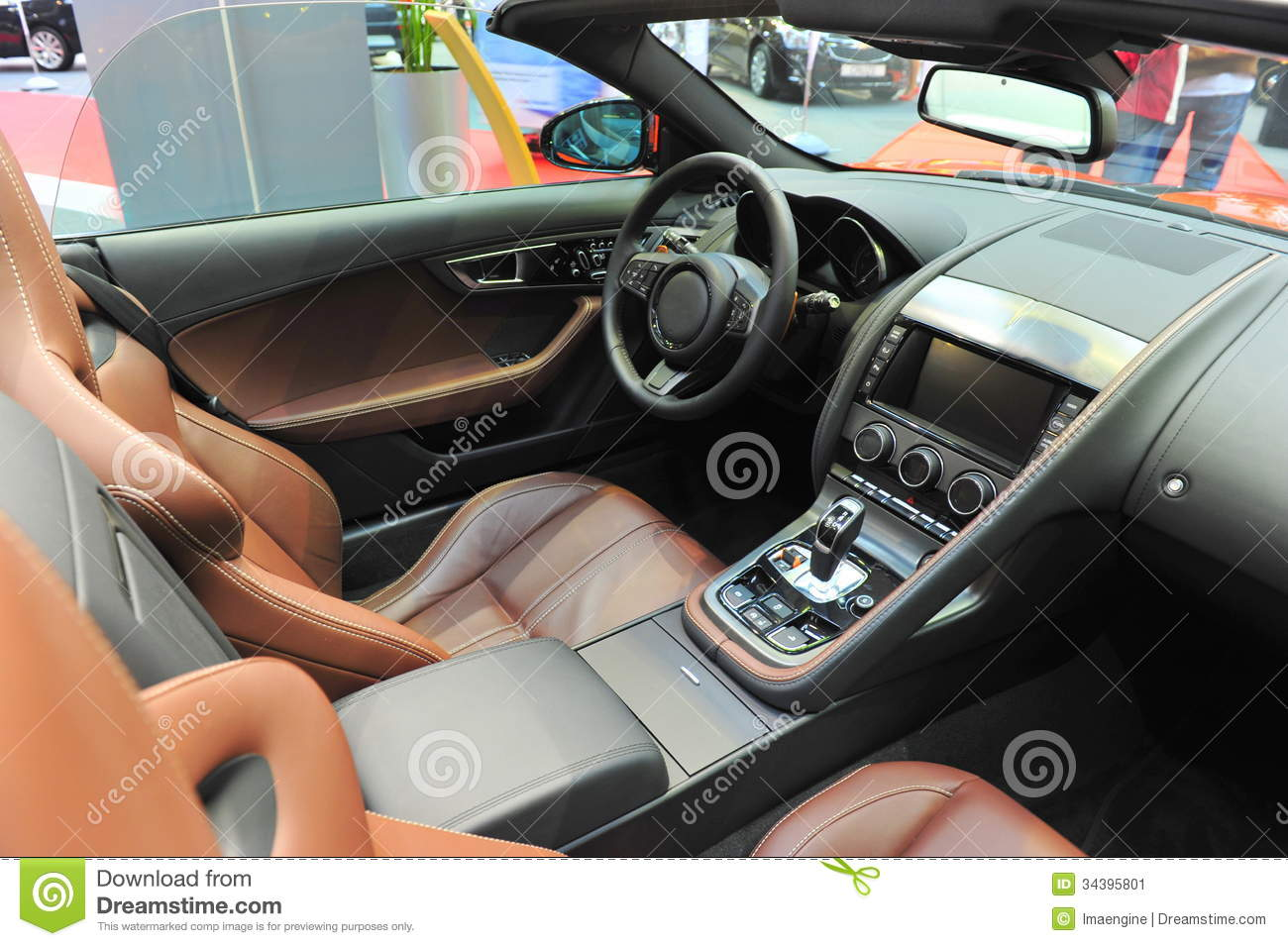leather interior of a convertible jaguar sports car stock image image 34395801. Black Bedroom Furniture Sets. Home Design Ideas