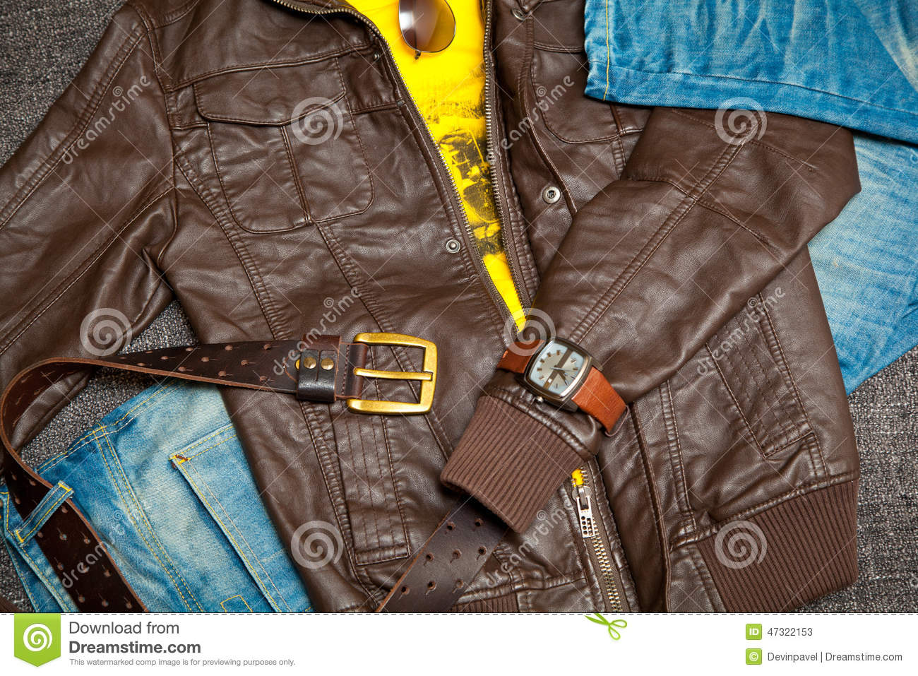 Leather Jacket Jeans With A Belt Shirt Watches And ...