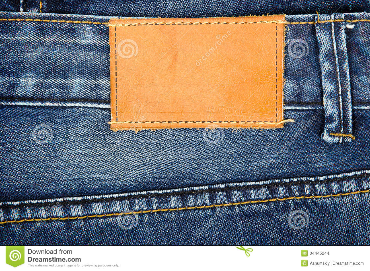 Leather Jeans Label Sewed On Jeans Stock Images  Image