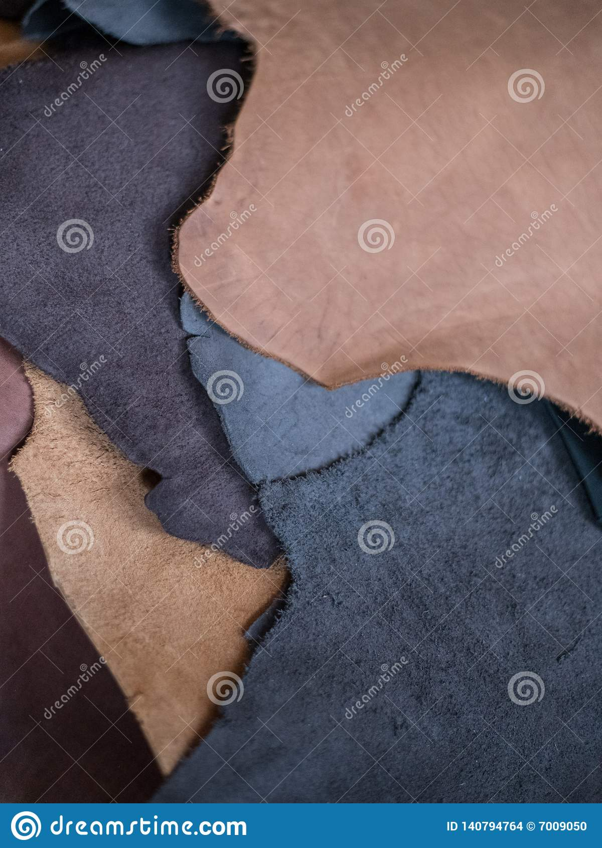 Leather pieces fragments color difference