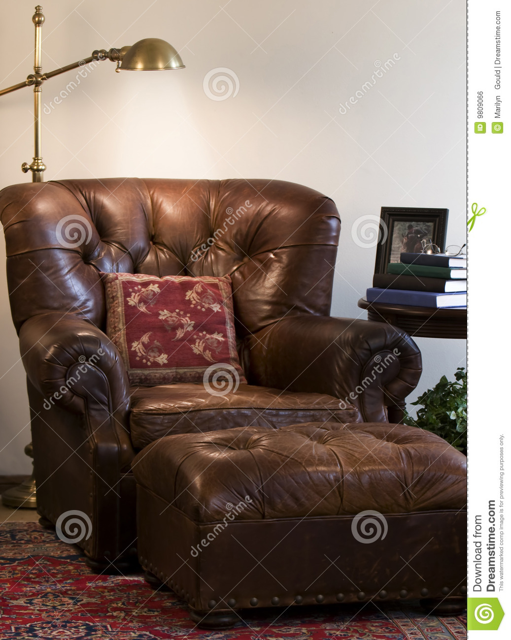 Leather Reading Chair Stock Photo Image Of Lamp Indoor