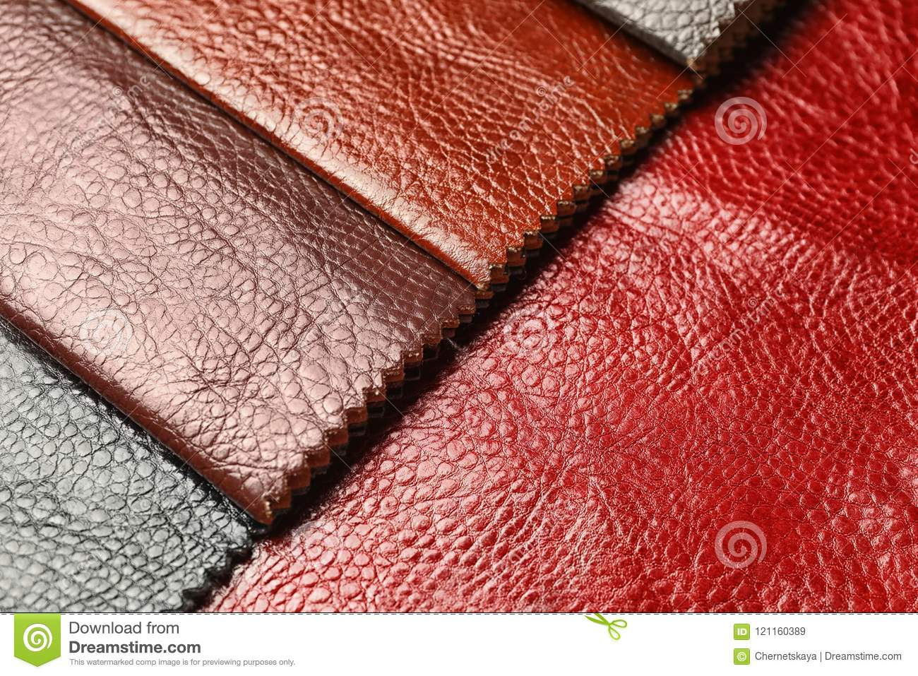 Leather samples of different colors for interior design