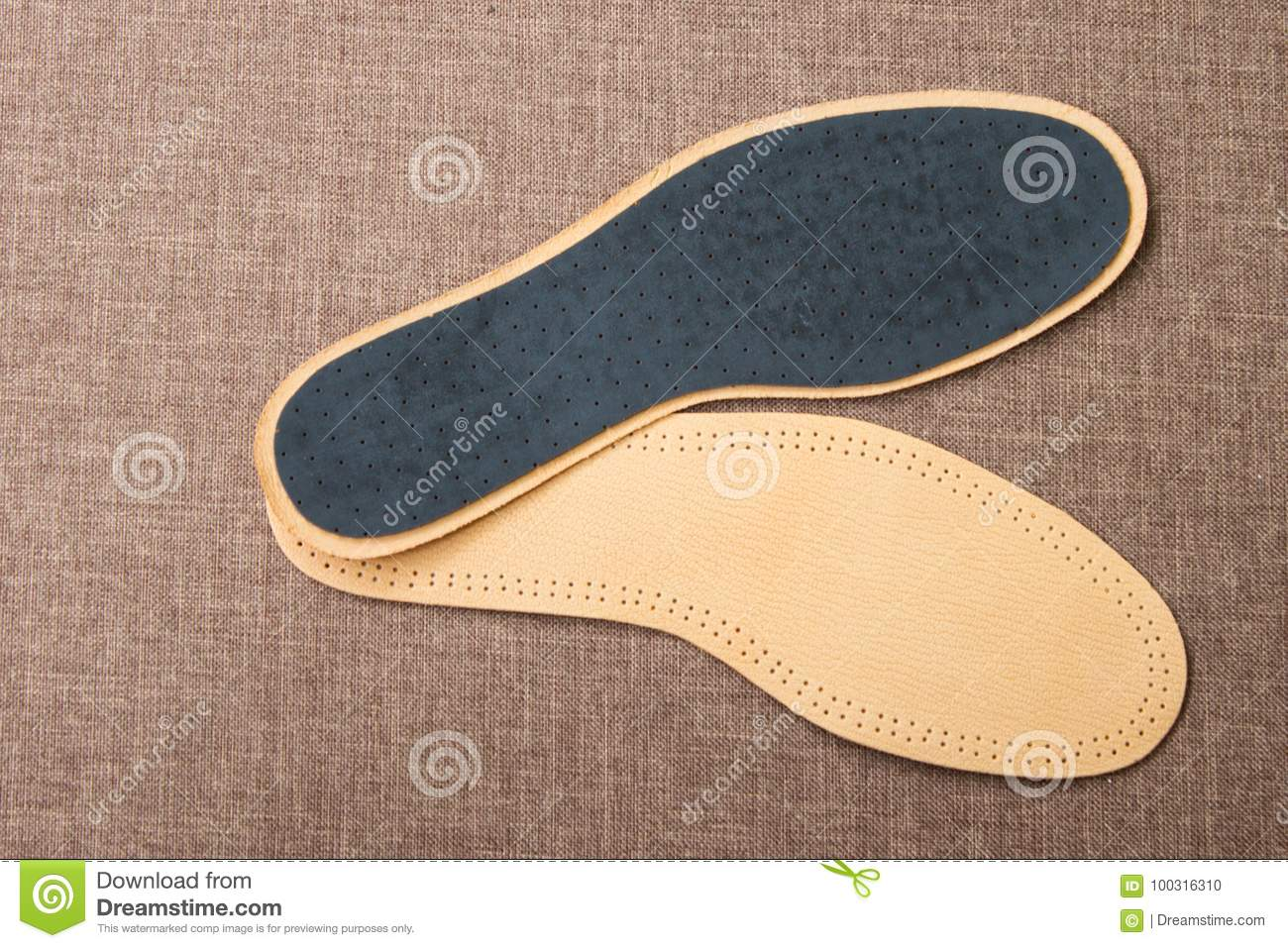 Leather Shoe Insoles For Sport Fitness Everyday Life Stock Photo