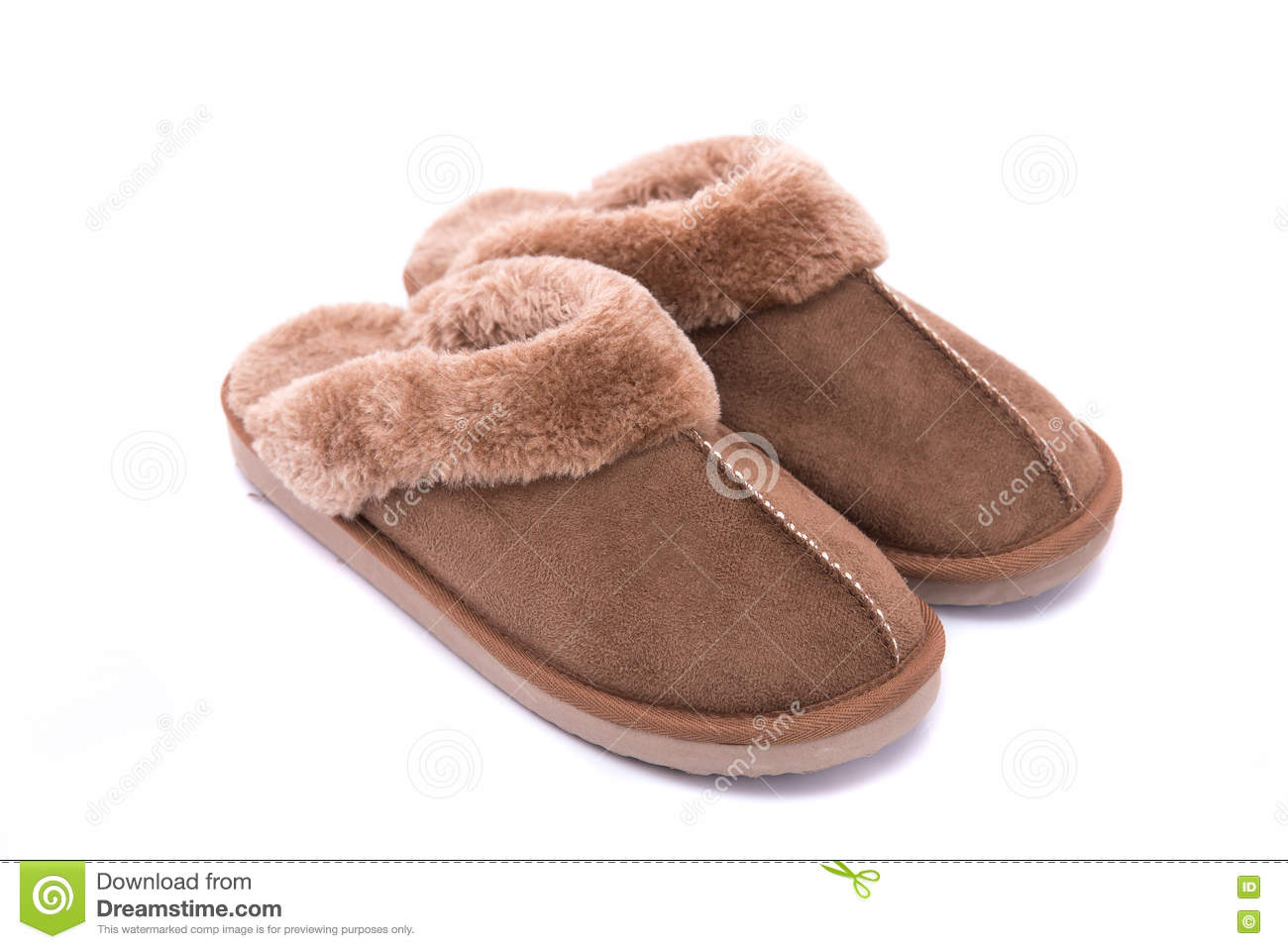 43da20c9b Close up of beautiful brown leather slippers on white background isolated