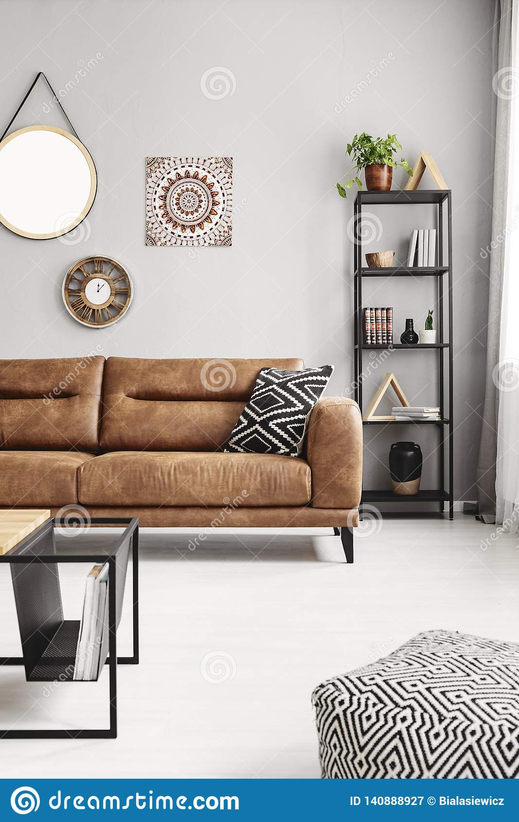Pleasant Leather Sofa With Black And White Pillow In Real Photo Of Ibusinesslaw Wood Chair Design Ideas Ibusinesslaworg