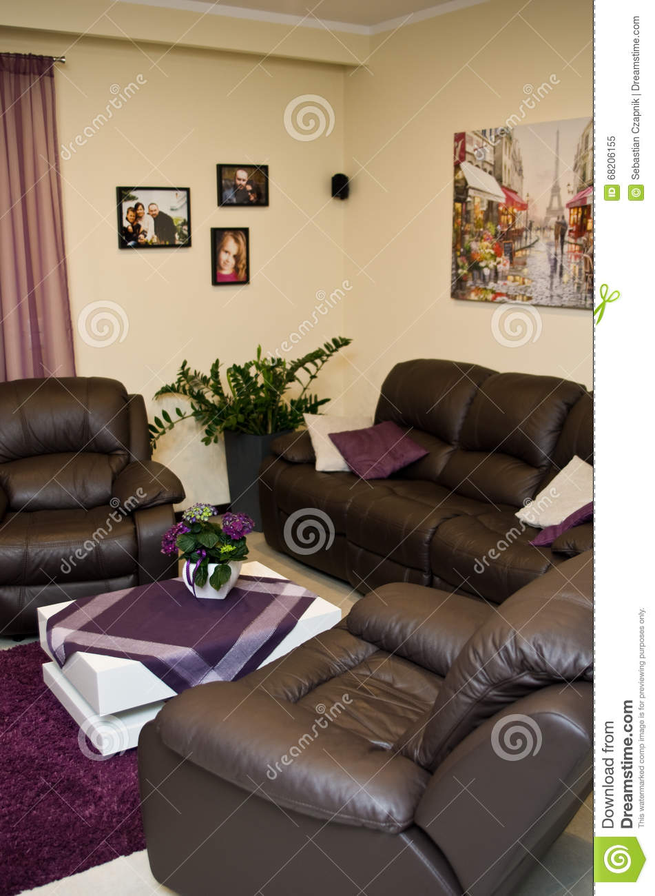 Leather sofa and chairs in a living room