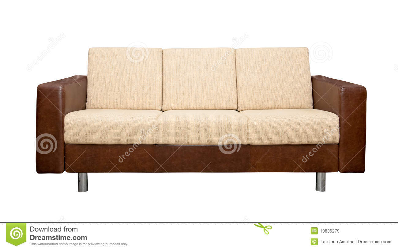 Leather Sofa With Fabric Upholstery Royalty Free Stock