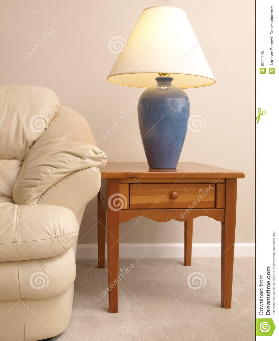 Lamp On Table: Leather Sofa with Lamp on full End Table,Lighting
