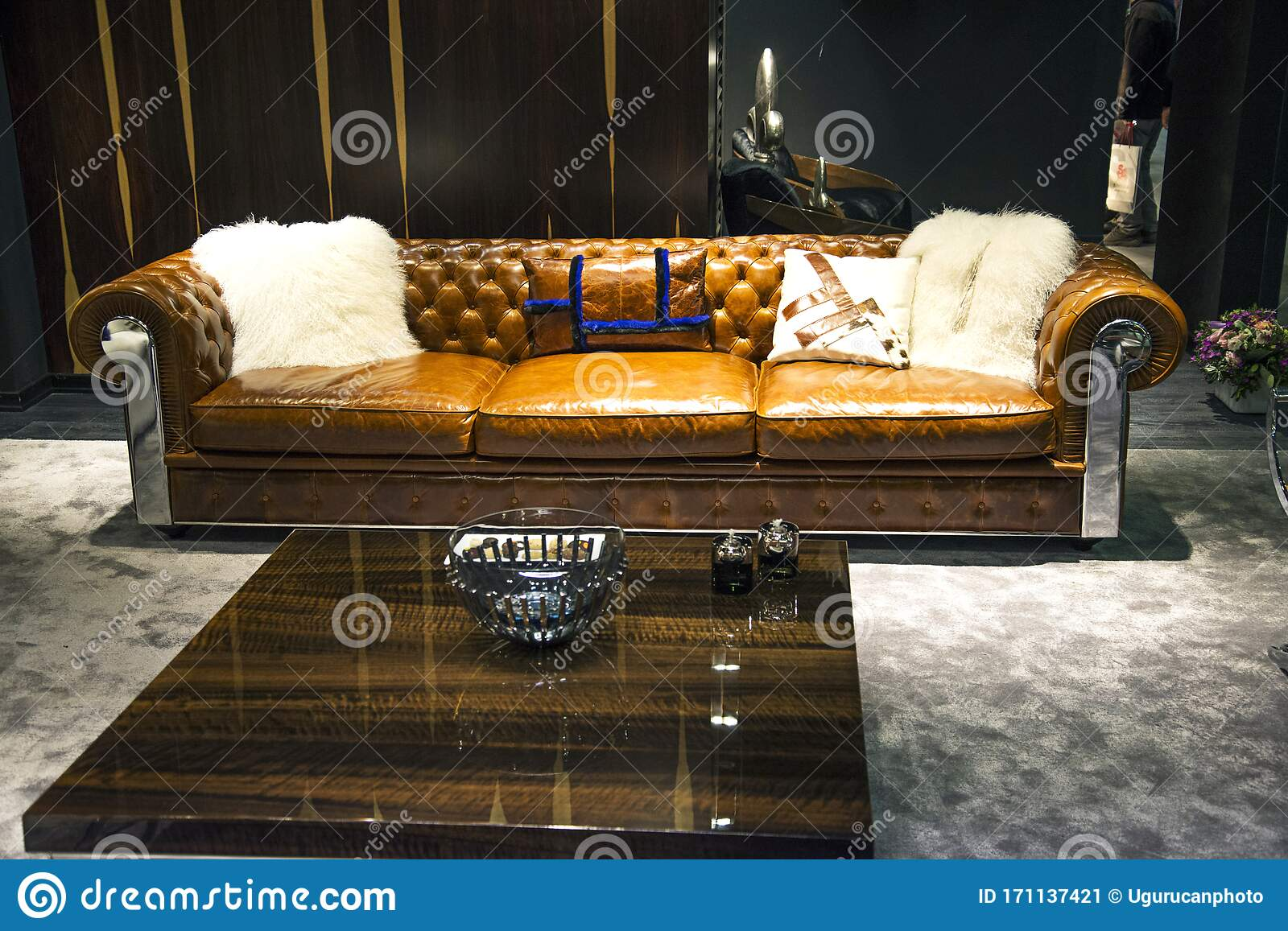 Leather Sofa In Living Room And Modern Coffee Table In Front Of It Editorial Photo Image Of Bedroom Chandeliers 171137421