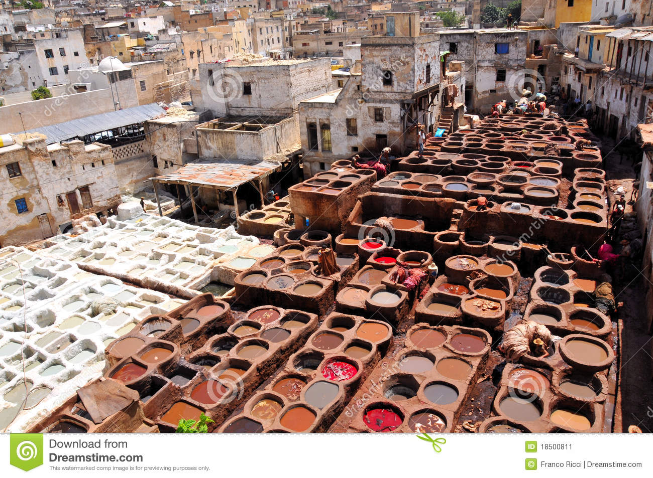 Fes Morocco  city photo : ... system of leather tanning in the Medina downtown in Fez , Morocco